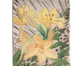ACEO Original Watercolour - Lilies