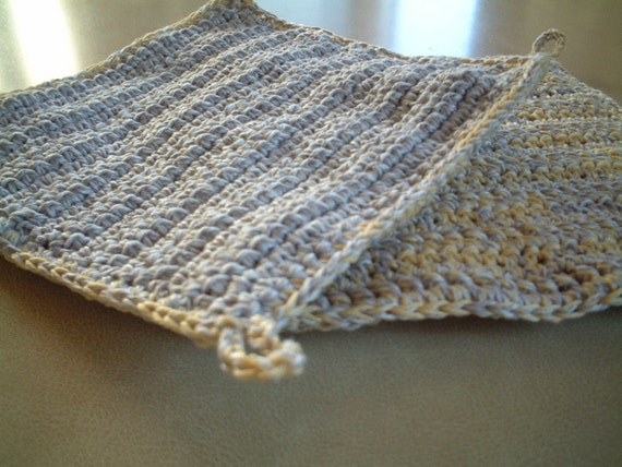 2 Crocheted Double Layered Potholders in Lemon and Grey.