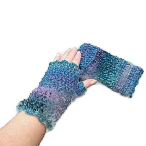 Fingerless Mittens, Wristwarmers, Wristies in Purple, Blue, Green & Teal.
