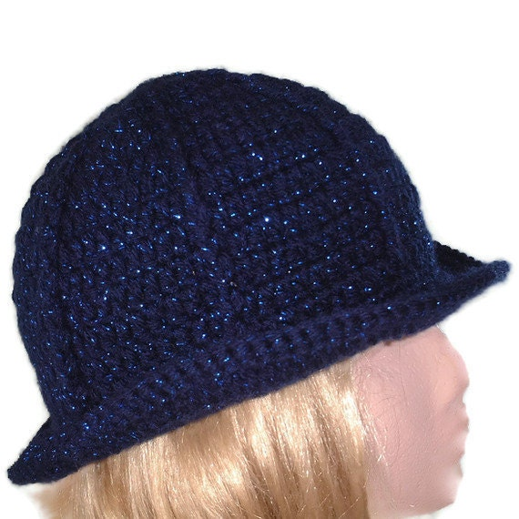 CLEARANCE SALE!! Crochet Hat in Navy Shimmer. Accessories Fedore, Spring, Summer, Winter Ladies, Bowler, Trilby style,