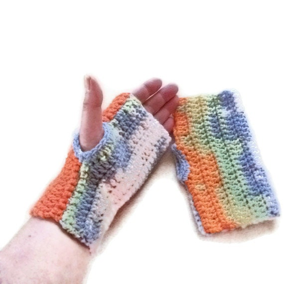 SALE Fingerless Mittens, Gloves, Wristwarmers in  Rainbow Shades. Fashion Accessories, Winter Warmers, Texting Gloves, Crafting Gloves,