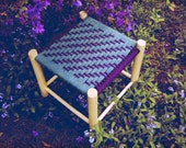 Handmade Woven Wool Ash Footstool