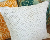 Vintage White Crochet Cushion with feather filler