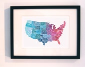 American Gastronomy map red and blue // typographical print