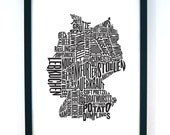 German Gastronomy Map Black A3 42x30cm