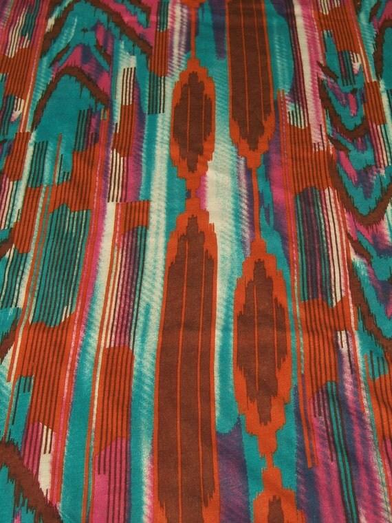 HPF 6018 BTY super-cool green, pink and tan ikat print rayon/modal/bamboo knit