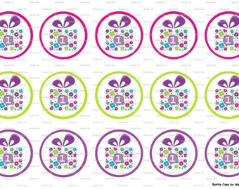 """15 1st Birthday Images Digital Download for 1"""" Bottle Caps (4x6)"""