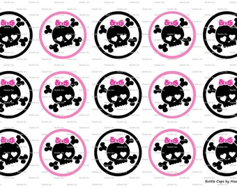 """15 Girly Skulls Inspired Digital Download for 1"""" Bottle Caps (4x6)"""