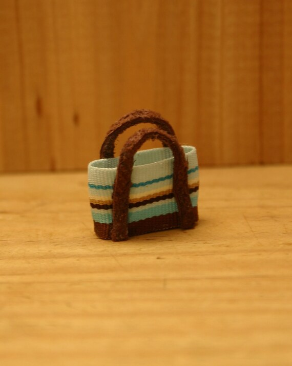 Miniature Brown and Blue Tote with Suede Handles
