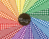 Gingham Digital Scrapbook Paper and Classic Picnic Plaid Backgrounds in Primary Colors - Instant Download (DP023)