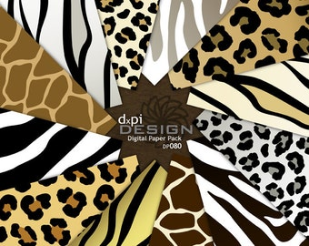 Animal Print Digital Paper - Zebra Leopard Tiger Giraffe - Digital Scrapbook Paper and Printable Backgrounds - Instant Download (DP080)