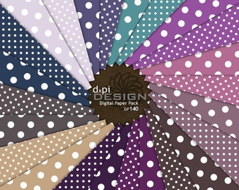 POLKA DOTS - Digital Background Papers in blue, purple, pink for Digital Scrapbooking, Card Making and Photography (DP140)
