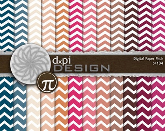 Digital Chevron Scrapbook Paper - Digital Paper in pink, cream, blue, beige for Scrapbook, Photography and Collage Backgrounds (DP134)