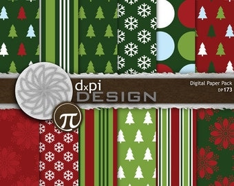 Digital Christmas Scrapbook Papers & Digital Backgrounds - Digital Christmas Trees, Snowflakes, Holiday Stripes - Instant Download (DP173)