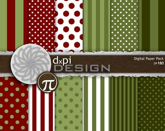 Digital Christmas Polka Dots and Stripes - Digital Paper & Scrapbook Backgrounds in Red, Green, and White Designs - Instant Download (DP180)