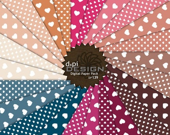 Hearts Digital Scrapbook Paper - Digital Backgrounds in pink, cream, blue, beige for Photography, Invitation and Card Backgrounds (DP139A)