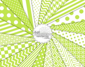CHARTREUSE - Digital Scrapbooking Papers in Bright Green - Printable Digital Backgrounds in lime green & white - Instant Download (DP299A)