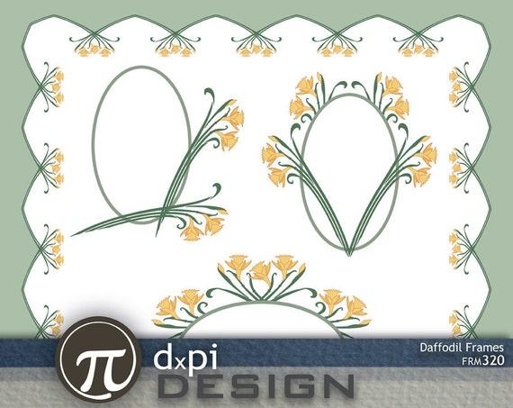 Daffodil Frames - Digital spring Easter flowers clip art and scrapbook frames (FRM320)