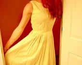 Vintage 50s 60s Yellow Eyelet Sundress S Small