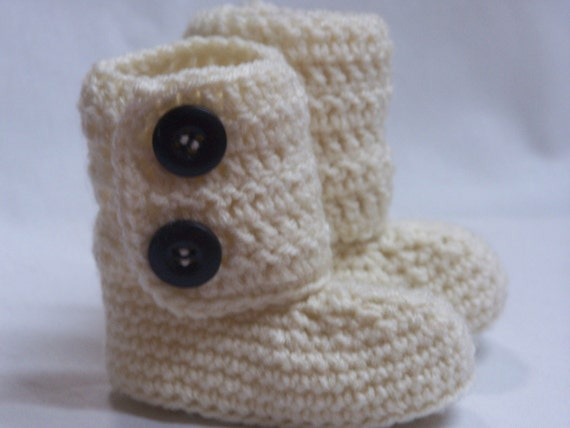 Crochet Baby Boot Slipper Booties- 0-3m.- Ivory MADE TO ORDER