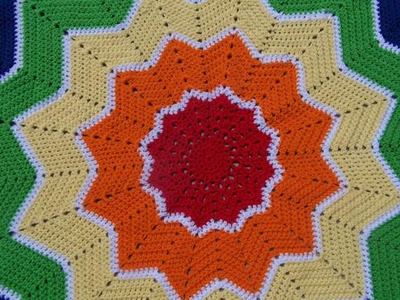 Rainbow Crochet Round Star Ripple Baby Blanket- Ready to Ship