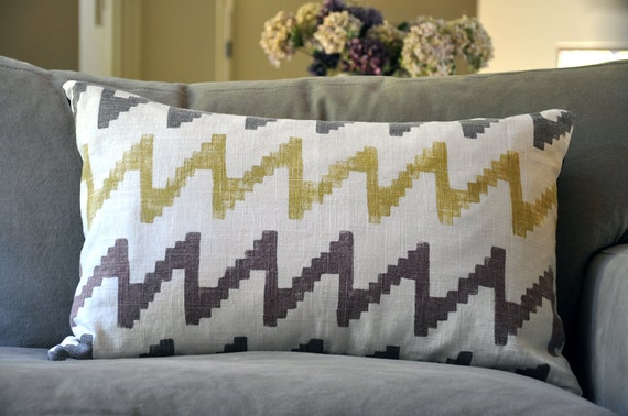hand painted tribal zig zag pillow in red, brown and olive, chevron, hippie, southwestern, african, native american, navajo, cherokee
