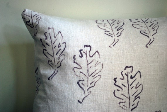 hand painted oak leaf pillow in lavender, fall, leaves