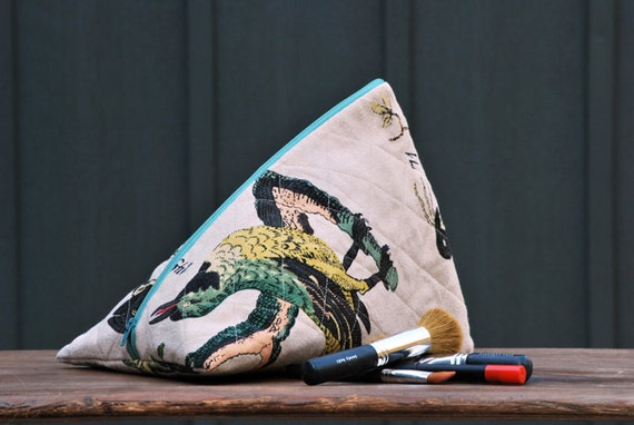 audubon inspired bird cosmetic bag, makeup bag, travel bag, teal, grey, black, yellow, quilted