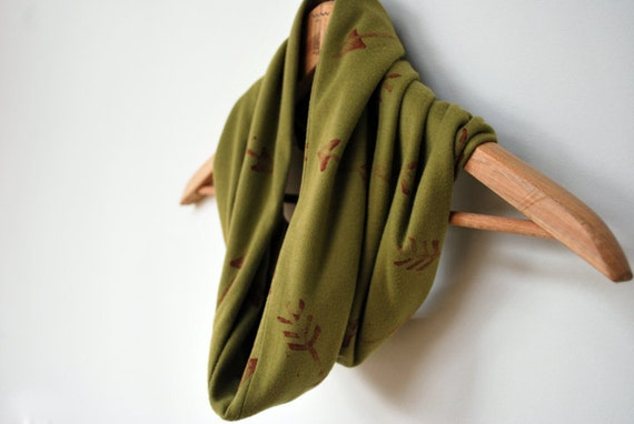 arrow scarf in olive and red, hippie, southwestern, bohemian, cotton jersey, soft, african, indian, tribal