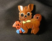 RESERVED for Tiziana: Vintage late 40's early 50's wooden puppy pin