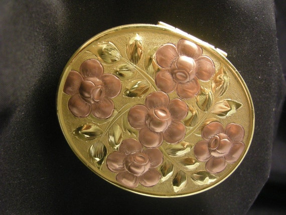 RESERVED - gold-tone compact with rose gold-tone flowers