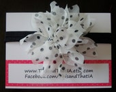 White Chiffon Flower with Black Polka Dots on a Shimmery Black Stretch Headband.