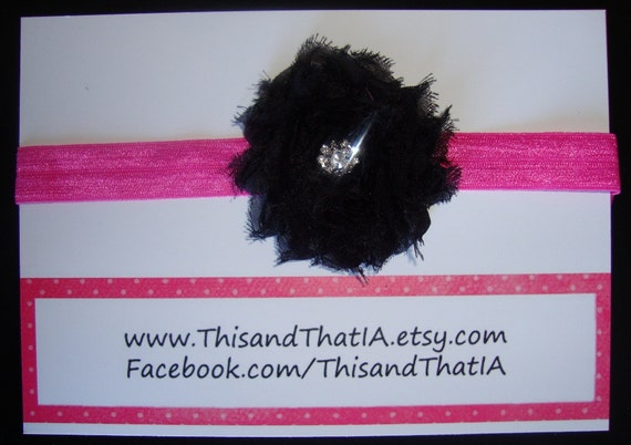 Hot Pink Elastic Headband and Black Vintage Chiffon frayed rosette with Rhinestone Embellishment. Newborn/Baby  Valentine's Collection