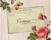 Shop Banner Set - Vintage Postcard, Roses and Butterfly on Pink Wood Etsy Shop Banner