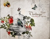 Etsy Banner Set - Vintage Bird In A Gilded Cage And Roses Etsy Shop Banner