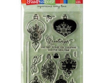 ORNAMENT GREETINGS Clear Stamps by Stampendous