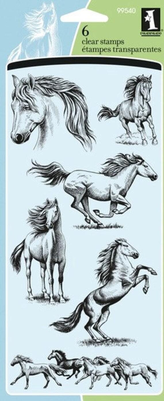 Inkadinkado HORSES Clear Stamps