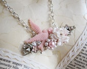 Pink Dove Pearl Shabby Chic Vintage Collage Statement Necklace