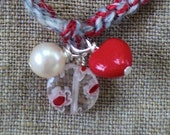Pearl Heart  Cashmere Silk Red sky blue ankle bracelet