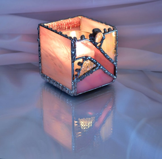 Pink Toned Stained Glass Candle Holder Updated Geometric Design