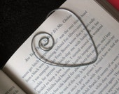 Heart Shaped Silver Wire Bookmark, Shower Favors, Wire Art,  Book Club
