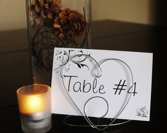 Table Name Card Holder Wire Heart Shaped, Centerpiece for Wedding Reception, PlaceCard, Table Decoration for Special Occasion, Photo Holder