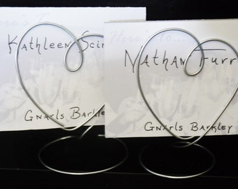 Wire PlaceCard Holders for Wedding or Shower, Set of 12, Wedding Table Name Card Holders, Plain and Simple Heart Shaped Photo Holders