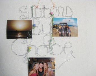 Hanging Photo Holder, Sisters By Choice, 3 Wire Words, Best Friends Picture Frame Gift, Multi Picture Holder with Tulips, Photo Collage