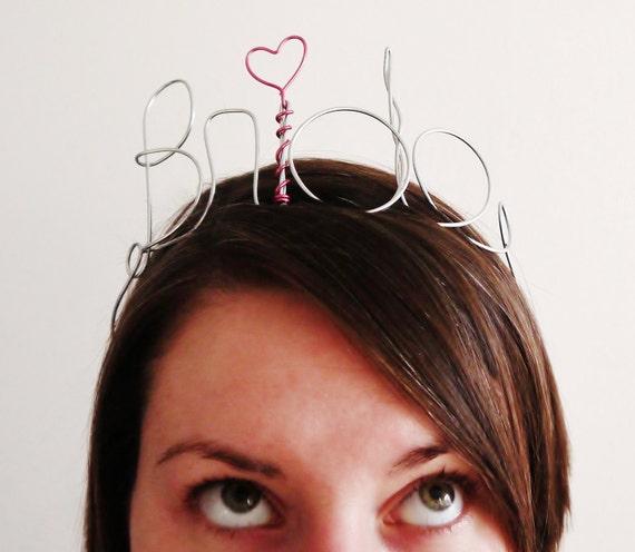 Bride Tiara Wire Headband for Bachelorette, Bride Gift, Bridal Shower & Bachelorette Gift or Decoration, Nice Version :)