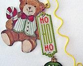 SOLD Bookmark Teddy Bear Christmas Ho Ho Ho Theme Bookmark RESERVED