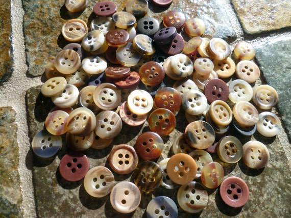 Mini  Brown Tone Buttons Lot of 100 -(d238)