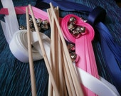 DIY Bride  125 Triple ribbon NO Bell double  ribbon wands Wedding Wands Send off Exit wands Beach theme  Peacock theme customized