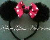Minnie Mouse Ears Headband(Dark Pink)