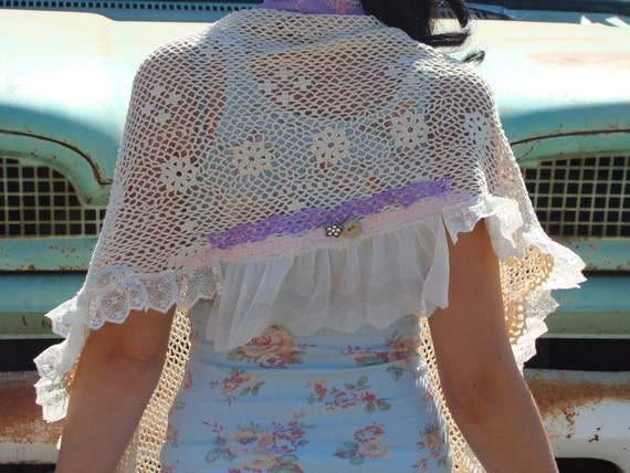 Up-cycled Bits of Lace Crochet Gypsy Shawl
